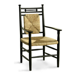 Abigail Dining Arm Chair - Black/Woven Rush - Incorporating chinoiserie details from past centuries but downplaying their detail for an utterly sleek and coordinated look, the frame of the Abigail Dining Arm Chair makes it a welcoming yet formal element in the composition of your dining space. Also suitable as an accent chair, this handsome hardwood piece incorporates a back and seat of natural hand-woven rush.