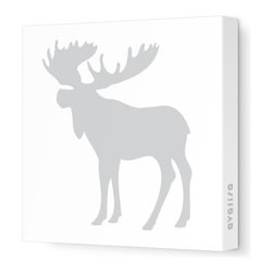 """Avalisa - Silhouette - Moose Stretched Wall Art, 12"""" x 12"""", Gray - This mod moose silhouette captures the spirit of the forest in chic, contemporary style. Create an ensemble of forest friends with moose, bear and squirrel silhouettes or let one extra-large moose print cast its magnificent presence over the room. Include some trees or other nature-inspired elements in the room to make your moose feel at home."""