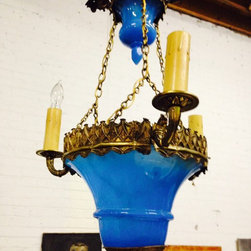 Elegant Cerulean Brass European Light Fixture -