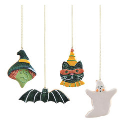 C & F - Halloween Cookie Ornament Set - As sweet as the cookies they look like, these little ornaments add bright color and Halloweeny charm to your festive displays. Hang them from your kitchen window frame or doorway, or start a new family tradition of a little Halloween tree! �� Includes witch, cat, bat and ghost 1.5'' H to 3.5'' H Resin Imported