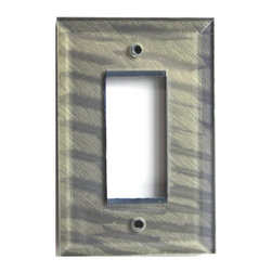 Deep Opal Glass Single Decora Switch Cover - Periwinkle glass single decora switch cover is treated with our unique ripple paint finish in a garden purple hue. Beveled cut edges add extra enhancement and a jewel tone quality to the color. Easily integrated in both modern and classic decors, this stylish plate is a perfect accent for glass and ceramic tiles. Note:Glass switch covers are flat in the back and may require some adjusting to the receptacle screws.