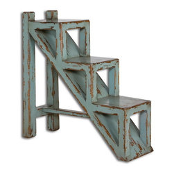 Uttermost - Uttermost 25584  Asher Blue Accent Table - Solid mango wood, hand finished in sea glass blue with honey-stained undertones.