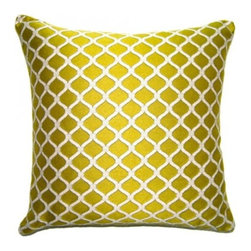 Squarefeathers - Luca Pillow, Chain Lime Pillow - The Luca Collection is great for adding color and a variety of texture. Imagine these bright pastels against dark wood. Made of polyester and rayon with a knit trim. It has a soft and pump feataher/down insert inclosed with a zipper. Like all of our products, this pillow is handmade, made to order exclusively in our studio right here in the USA.