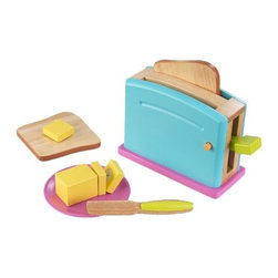 "KidKraft - Bright Toaster Set, 8.50""x5.50""x3.50"" by Kidkraft - Children often want to help their parents in the kitchen. With our new Bright Toaster Set your young helpers will be able to take care of the toast all on their own! The bright colors and rich details of this wooden 9-piece set are sure to keep imaginations running wild."