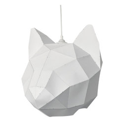 Modern White Paper Ceiling Light Shade - Turn an ordinary room into an illuminated menagerie with this beautiful Cat Head Lampshade. This DIY geometric animal was initially created as a 3D CAD design, then converted into flat planes and printed onto heavy paper for you to cut out, fold, and glue together. Made to fit a standing light, this whimsical piece can also be used as a mask or paper sculpture.