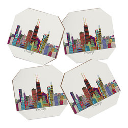 Brian Buckley Chicago City 4 Coasters - Say goodbye to water rings on your furniture and hello to the stylish solution: DENY Designs' Coaster Set. Available in a set of four, you can also opt for the coaster tray to house the set or go the a la carte route. Either way, your glasses are going to get a fun drinking companion!