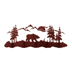 """Bear 5 Hook Coat Rack - Depicting a bear ambling through his forest home the Bear 5 Hook Coat Rack celebrates the outdoors with detail and precision in laser-cut rolled steel. Each functional art piece is handcrafted in the USA with a urethane-sealed rust patina finish. Mounts easily with included color-matched hardware. Measures 36""""W x 14""""H (approx. )."""