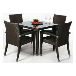 """All Things Cedar - RATTAN Dining Set - Rattan 5 pc Patio Table Set Includes Glass Plate Top  +  4 Arm Chairs with decorative aluminum ferrules. DIMENSIONS : TABLE : 35w x 25d x 29h : CHAIR : 24w x 23d x 38h --- SEAT : 16w x 19d x 16h --- ARM HEIGHT : 25"""""""