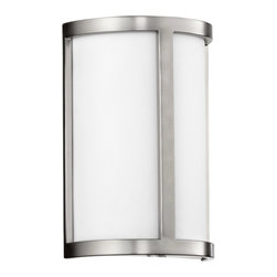 Quorum Lighting - Quorum Lighting Omega Modern / Contemporary Wall Sconce X-56-0025 - Simple, elegant design sets the Omega family apart. The beauty of these fixtures lies in their understated style and ability to seamlessly blend with any decor. The Satin Nickel finish against the white acrylic shade provides a contemporary look to this functional family.
