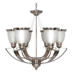 "Nuvo Lighting - Six Light Up Lighting ChandelierPalladium Collection - Palladium - 6 Light Cfl - 25"" - Chandelier - (6) 13W GU24 Lamps Included"