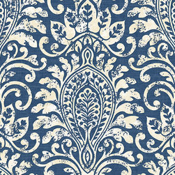 Navy and Beige Damask - DS29731 - Collection:Stripes & Damasks 2