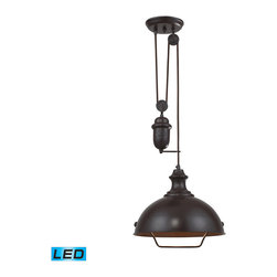 Elk - Farmhouse Oiled Bronze Pendant - Inspired by antique lighting, this series recalls turn-of the century design where simple aesthetics and mechanical function combined to create charming, yet versatile fixtures. These classic pull-downs have a decorative weight that counterbalances the fixture for easy height adjustability anytime by simply pulling down or lifting up on the fixture. - LED Offering Up To 800 Lumens (60 Watt Equivalent) with Full Range Dimming. Includes an Easily Replaceable LED Bulb (120V).