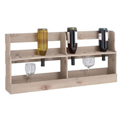 Benzara - High Quality Wooden Wine Rack with Spacious Design - Make your drinking sessions enjoyable and hassle-free with this 17 in. H High Quality Wooden Wine Rack with Spacious Design. This perfectly designed wine rack sports features that are high in utility as well as visual appeal. This stylish rack has two open shelves demarcated into two compartments that offer adequate space to store your favorite liquors. The upper shelf has stylish holes that can be used to store wine bottles by inserting them upside down. The lower shelf is left plain so that you keep your wine goblets and glasses safely and showcase them stylishly. The wood is light in color and comes with a natural finish with perfect borders and smooth edges. With a stable base and handy design, the rack can be placed comfortably and can be handled conveniently. This rack enables easy access of your drinking accessories anytime you want. Since it is made of high quality wood, it is bestowed with endurance for long lasting performance..