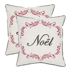 Safavieh - Decorative Noel Pillows in Beige & Red - Set Of 2 - Sum up the holiday season in a word with the set of two Noel accent pillows in beige and red with black piping. Crafted in a blend of polyester and linen, thus pretty pair fills the home with old-fashioned Victorian holiday cheer.
