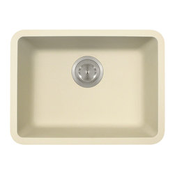 """MR Direct - Small Single Bowl TruGranite Sink - The TruGranite 818-Beige small single bowl undermount sink is made from a granite composite material that is comprised of 80% Quartzite and 20% Acrylic. Silver ions are added to the sink during the manufacturing process that kill 99% of bacteria on contact.  Aside from being anti-bacterial, the 818-Beige is stain and scratch resistant and can resist heat up to 550 degrees. The overall dimensions of the sink are 19 3/4"""" x 14 7/8"""" x 6 5/8"""" and a 21"""" minimum cabinet size is required. The sink contains a 3 1/2"""" offset drain and is available in multiple colors. As always, our TruGranite sinks are covered under a limited lifetime warranty for as long as you own the sink."""