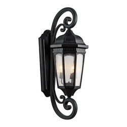 Kichler Lighting - Kichler Lighting KCH-9060-BKT Courtyard Traditional Outdoor Wall Sconce - Uncluttered and traditional, this 3 light outdoor wall lantern from the Courtyard™ collection adds the warmth of a secluded terrace to any patio or porch. Featuring a Textured Black finish and Clear Seedy Glass, this design will elevate and enhance any space.