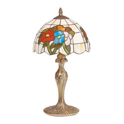 Renovators Supply - Table Lamps Antique Brass Table Tiffany Style Lamp 19 H x10 - Table Lamp. This Tiffany table lamp measures 19 inches high with a 10 in. dia. cream and multi colored shade. The base of this Tiffany-style light is felted and measures 6 1/4 in. dia.