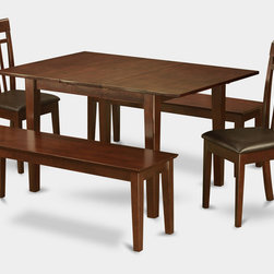 """East West Furniture - 5Pc Picasso Dining Set with 2 Capri Faux Leather Chairs and 2 Capri Benches - 5Pc Picasso Picasso Dining Table with 2 Capri Slatted Back Faux Leather Seat Chairs and 2 51-in Long Benches in Mahogany Finish; These Picasso kitchen sets are beautifully crafted and rich with a mahogany color.; This sleek, yet traditional dinette set contains no plastic, which makes it efficient and environmentally friendly.; The Picasso table & chairs each have a glossy finish, complete with subtle, perfectly beveled edges.; These dinette sets make a cozy addition to any kitchen or conventional dining room and provide seating for up to six people.; Choose between wood and microfiber upholstered seats depending on which table & chairs set fits your ktichen or dining room style.; Weight: 154 lbs; Dimensions: Table: 48 - 60""""L x 32""""W x 30""""H; Chair: 17.5""""L x 17""""W x 38.5""""H; Bench: 51""""L x 15""""W x 17.75""""H"""