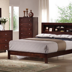 None - Montana King 5-piece Mahogany Brown Wood Modern Bedroom Set - The stunningly beautiful mahogany veneer finish on this 5-piece modern bedroom set turns any bedroom into a sophisticated retreat.