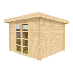 Sunshine 10 x 10 Wood Shed / Pool House - ECO Garden Sheds. All natural wood 10 x 10 Modern pool house/ wood garden shed -- Sunshine. Front view B.