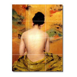 Picture-Tiles, LLC - Back Of A Nude Tile Mural By William Chase - * MURAL SIZE: 48x36 inch tile mural using (12) 12x12 ceramic tiles-satin finish.