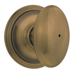 Schlage - Siena Antique Brass Bed and Bath Knob - F40 S - Manufacturer SKU: F40 SIE 609. Handle Type: Knob. Use on a 1-3/8 in. to 1-3/4 in. thick door. Universal latch and Triple Option faceplate fit standard door preparations. Privacy knob, with push-button lock, for use on an interior bathroom or bedroom door. All-metal chassis for durability. Antique brass finish. Includes hardware for quick, 1-tool installation. Includes unlocking tool. ANSI Grade 2. Finish: Antique Brass. 2.6 in. L x 2.8 in. W x 2.8 in. H (1.1 lbs)