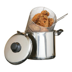 Cookpro - Stainless Steel Deep Fryer 6-quart Stovetop - Prepare comfort food in the comfort of your own home. This stovetop deep fryer is ideal for making your favorite deep-fried delights. The set includes a six-quart, stainless steel deep fryer and a four-quart wire frying basket.