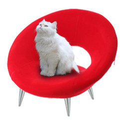 "Antz - Lucy's Loveseat Luxury Cat Bed - Lucy's loveseat is the perfect fusion of luxury, style, and comfort. It has a removable red velvet cover and 4"" aluminum legs, safe on hard-wood floors. Measures 15.75 (h) x 25 (w) x 17.75 (d)."