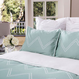 Crane & Canopy - Cora Green SIGNATURE Duvet Cover - King/Cal King - Redecorate with this chevron duvet cover to instantly transform your bedroom. With beautifully illustrated dots lined perfectly to graphically create a large scale zigzag pattern, the Cora Gray Chevron bedding set is our freshest and most sophisticated take on the chevron pattern.