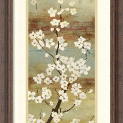 Amanti Art - Asia Jensen 'Blossom Canopy I' Framed Art Print 14 x 26-inch - Bring an earthy flair to your decor with this exquisite piece by Asia Jensen. With subtle shades of brown and grey, Jensen sets the stage for floral elegance.