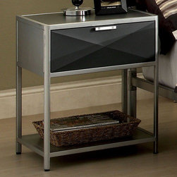 Hokku Designs - Matrix 1 Drawer Nightstand - Modern, minimal design showcases striking features like a distinctive full metal body construction. Features: -Bottom shelf for storage.-nightstand comes pre-assembled.-Need to attached hardware pulls/handles.-Metal construction.-Combination of silver/dark gray finish.-Matrix collection.-Distressed: No.-Collection: Matrix.Dimensions: -Overall Product Weight: 55 lbs.
