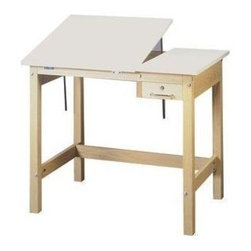 Alvin and Company - Solid Oak Table w Split Angled Top & Drawer ( - Choose Size: 48 in. L x 36 in. W x 37 in. H w/ 12 in. Fixed TopIncludes 12 or 18 in. wide fixed tabletop. Custom-made. Made in U.S.A.. White Melamine tabletop and comes with an oak pencil rail. Infinite tabletop angle adjustments except the tables with 24 x 36 in. split-top boards, which come with a 10-position ratchet adjustment. Locking tool drawer. Constructed of solid Oak using thru-bolt construction for rock-solid stability. Unfinished, ready to stain or paint the color of your choice. Drawer inside dimension: 18.75 in. L x 5.5 in. W x 2.25 in. HWith 12 in. Fixed Tabletop Dimensions:. 36 in. L x 24 in. W x 30 in. H (59 lbs.). 42 in. L x 30 in. W x 30 in. H (70 lbs.). 36 in. L x 24 in. W x 37 in. H (62 lbs.). 42 in. L x 30 in. W x 37 in. H (73 lbs.). 48 in. L x 36 in. W x 37 in. H (86 lbs.). 60 in. L x 36 in. W x 37 in. H (97 lbs.)With 18 in. Fixed Tabletop Dimensions:. 48 in. L x 36 in. W x 37 in. H (88 lbs.). 60 in. L x 36 in. W x 37 in. H (99 lbs.)