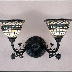 Meyda Tiffany - Meyda Tiffany Roman Two Light Tiffany Wall Sconce X-49372 - Inspired by century old patterns, this Roman Two Light Tiffany Wall Sconce wanted to create a lighting source that featured a modern, up-to-date century old pattern. Using the same colors, patters and craftsmanship, Meyda Tiffany created this design using an Antique finish and a beautifully mosaic glass shade with the rich colors of Mauve, Green, Blue, Purple, Brown and Beige. This light would fit beautifully in any elegant room with it's combined two beautiful glass light fixtures.