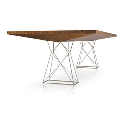 MODLOFT - MODLOFT Curzon Dining Table - The Curzon Dining Table has a unique silhouette that will capture every eye in the room. Stainless steel wire legs form towers to support the one-of-a-kind angled table top, available in wood or lacquer. The shape of the table top is reminiscent of an airplane wing, offering a sense of motion and streamlined spirit. This piece of practical sculpture comes in two sizes; the 87 for 8 to 10 guests, or the 102, providing comfortable, roomy seating for 10 to 12 friends or family members.