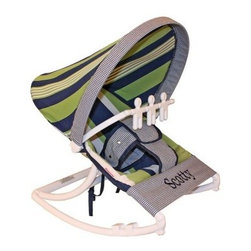 Hoohobbers Baby Rocker - Lacrosse - Even if your son doesn't turn out to be a star athlete the Hoohobbers Baby Rocker - Lacrosse is a good choice because of its simple attractive design. The baby rocker's frame is made from virtually indestructible solid polypropylene with a full hood made from removable fabric in a straight-forward combination of green and blue stripes and checks in a traditional Ivy League style. It swings from front to back and simply rotate the stabilizer feet to adjust the range of motion. This rocker is water-resistant and great for outdoor use since there are no metal parts. The removable toy bar will divert your child with its beige spinning characters. The Hoohobbers Baby Rocker - Lacrosse folds up to a slim 5 inches for easy portability and it's simple to assemble with the snap-together pieces. All fabric is machine-washable. Includes 1-year warranty. Weight capacity: 25 pounds. Sling dimensions: 14W x 24D inches.About HoohobbersBased in Chicago Hoohobbers has designed and manufactured its own line of products since 1981 beginning with the now-classic junior director's chair. Hoohobbers makes both hard goods (furniture) and soft goods. Hoohobbers' hard goods are not your typical furniture products; they fold are lightweight and portable and are made to be carried by children all around the house. Even outdoors Hoohobbers' hard goods are 100 percent water-safe. At the same time they are plenty durable and can take the abuse children often give. Hoohobbers' soft goods are fabric items ranging from bibs to bedding from art smocks to Moses baskets.Hoohobbers' products are recognized by independent third parties for their quality and performance. Hoohobbers has received Best Design Awards from America's Juvenile Products Association each time selected from more than 20 000 products. Hoohobbers has also received the Parents' Choice Award and no Hoohobbers product has ever been subject to consumer recall. Furthermore the company's products are often featured in leading women's and children's publications.