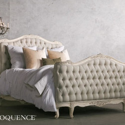 "Eloquence - Eloquence Sophia Tufted Bed - Weathered White - Eloquence's Sophia Bed in Queen. This bed is reinterpreted from the classic Louis XV Corbeille style. Beautifully hand finished in our Weathered White and tufted in Fog Linen. Spoil yourself! Available in Queen or King Size.Queen: Footboard is 40"" tall. 10 yards to re-upholster.King: Footboard is 43"" tall. 16 yards to re-upholster. Uses standard size eastern king mattress only."