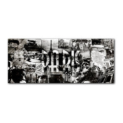 """READY2HANGART.COM - Ready2hangart Alexis Bueno Vintage B&W Paris Canvas Wall Art - Artist Alexis Bueno, takes you through the history of select cities and countries with his series Vintage Black & White. The abstract rendition in canvas art is offered as part of a limited """"Home Decor"""" line."""