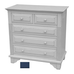Tradewinds - Country Style Bachelor Chest, Blue - Aesthetic artwork to manage your interiors and decorate them to perfection is embodied by the Chesapeake Bachelor Chest. Highly functional and spacious it comes in two varieties with and without the bookshelf. Though the different color options available are sure to puzzle you. Made to grace bedrooms, it has five drawers, two being on the top followed by three others. All framing and structural components are solid hardwood with drawers running on metal glides. The one without the book shelf can be used a s a bedside table while the one with book shelf can be placed at the corner of your room.