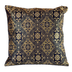 """Banarsi Designs - Hand Embroidered Brocade Pillow Cover, Set of 2, Black and Gold, 16"""" X 16"""" - Beautiful accent pillow cover set features sparkling, hand embroidered stone work and a sophisticated brocade design. This stunning pillow cover set is the perfect addition to your living room, den or sitting area. Its 16x16 size allows it to fit almost any standard sized throw pillow, and the hidden zipper in the back gives  you the ability to switch out the look and feel of your throw pillows easily. The stylish brocade design catches the lighting perfectly with hand-embroidered crystals and shimmers with metallic thread work.  You can change the aura of your home with the seasons, or whenever you feel like it. You''ll love how simple it is to instantly update the look in your home by just putting these chic, stylish pillow covers on your existing throw pillows. Perfect for sofas, chairs, futons, chaise lounges, beds and more. Made in India."""