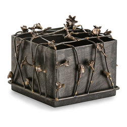 Mariposa Box - Small - Worn mixed metals and a cottage-garden aesthetic produce a softly weathered, exquisitely beautiful floral accent with an innovative approach to the tradition of the decorative box. The Small Mariposa Box, an open-topped cube of metal crowned with a mesh of iron vines accented by brass flowers, is ideal for keeping fragrances or storing guest washcloths.