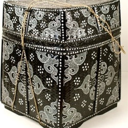 Balinese Basket, Black/Silver - This gorgeous basket from Bali will add a layer of exotic style to any room in your home. Also available in bright colors, this black and silver version will fit right into any contemporary room.