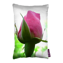 Tempo Luxury Home - Blossom Pillow by Joe Ginsberg for Tempo Luxury Home - An enchanting throw pillow for the bedroom or anywhere a dazzling focal point is desired. Morning Dew is printed on silk charmeuse; velvet-textured backing in Silver. Fill: 75% goose down; 25% feather. The Le Fleur Collection is made to order.