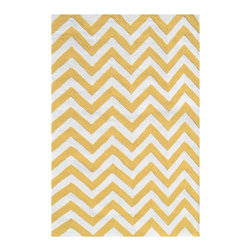 "Rug Market - Chevron Yellow Indoor/Outdoor Hook Rug - Bold and vibrant in yellow and white, the Chevron rug gives classic zigzag a colorful boost for a lively look indoor or outdoor. This durable floor covering is sized especially for children and hand tufted from UV-coated polyester for an all-weather piece that resists mildew and fading. Rug may feature some difference in color, size or shape, consistent with the nature of handmade products. Spot clean by hand with gentle soap and water; professional cleaning recommended. 2'8"" x 4'8"". 4'7"" x 7'7"". Rug pad recommended."