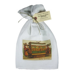 Easter Trolley    Flour Sack Towel  Set of 2 - A fabulous set of 3 flour sack towels. This set features a wonderful antique Easter print of a Chicks on a Trolley.   These towels are printed in the USA by American Workers!