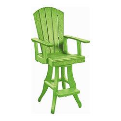 C.R. Plastic Products - C.R. Plastics Swivel Arm Pub Chair In Kiwi - C.R. Plastics Swivel Arm Pub Chair In Kiwi