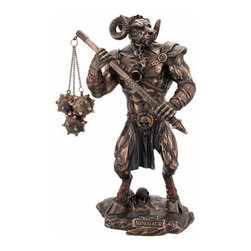 Greek Mythology Minotaur Bronzed Finish Statue - In Greek mythology, the Minotaur (Ancient Greek ?????????? [mi?n???tau?ros], Latin: Minotaurus, Etruscan ?evrumine?), was a creature with the head of a bull on the body of a man[1] or, as described by Roman poet Ovid, `part man and part bull`.[2] He dwelt at the center of the Cretan Labyrinth,designed by the architect Daedalus and his son Icarus, on the command of King Minos of Crete. The Minotaur was eventually killed by the Athenian hero Theseus. This awesome cold cast resin statue features the Minotaur armed for battle. The statue measures 10 inches tall, 6 inches across and 3 3/4 inches deep. It has a beautiful bronzed finish, and has hand-painted accents.