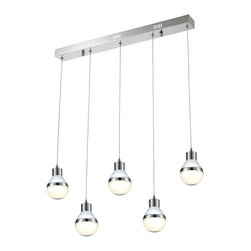 Ohr Lighting® - Ohr Lighting® LED Modern Light Bulb Pendant Light - 5 Pendants, White/Chrome - Features