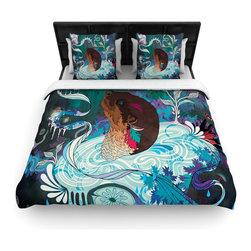 """Kess InHouse - Mat Miller """"Delicate Distraction"""" Otter Teal Woven Duvet Cover (Queen, 88"""" x 88"""" - Add a splash of artistically inclined comfort to the average down comforter with a large focus to your bed! Our duvet cover is made of a beautifully crafted woven polyester fabric on top and a comforting and soft cotton/poly blend on bottom! We highly recommend washing your artwork before laying it onto your bed for added comfort and softness! These are totally machine washable and won't fade!�"""