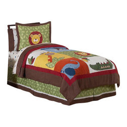 Sweet Jojo Designs - Jungle Time Children's Bedding Set Full/Queen (3-Piece) - The Jungle Time Children's Bedding Set by Sweet Jojo Designs will help you create an incredible room for your child. This boy bedding set features detailed monkeys, lions, giraffes, crocodiles and elephant jungle themed appliques and embroidery works. This collection uses the stylish colors of green, blue, orange, brown, yellow, red, and ivory. The design uses cotton, microsuede, corduroy, chambray, denim, and plush minky fabrics that are machine washable for easy care. This wonderful set is available in a twin and full/queen size.
