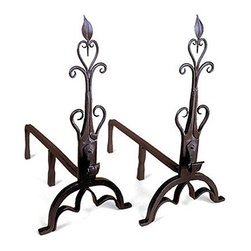 Achla - Wrought Iron Andiron Set w Fleur De Lis Detai - This andiron set is delightfully detailed.  The traditional fleur-de-lis, or lily flower, is daintily depicted in wrought iron and will create a captivating presence at the front of your fireplace.  They're also sturdy with arched bases and multi-leg construction along the shanks. * Wrought iron constructionBlack powdercoat finishSet of two21.5 in. H x 11 in. W x 20 D